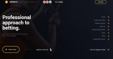 [HYIP Listing] Corybets – Dự án đầu tư về cá cược thể thao lãi 3.5-5% daily