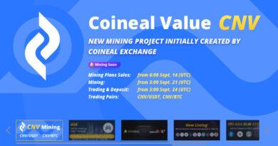 COINEAL sẽ ra mắt dịch vụ CNV Staking vào cuối tháng 5